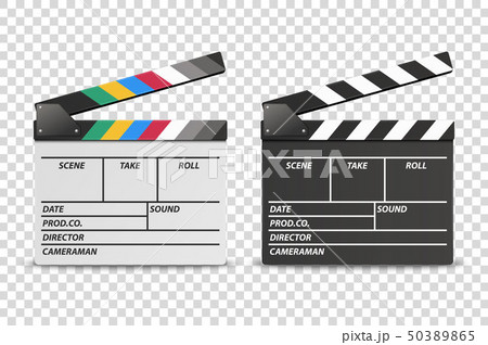 Vector 3d Realistic Opened White and Black Movie Film Clap Board Icon Set Closeup Isolated on 50389865