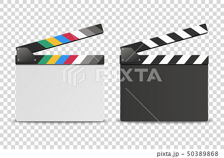Vector 3d Realistic Opened White and Black Blank Movie Film Clap Board Icon Set Closeup Isolated on 50389868