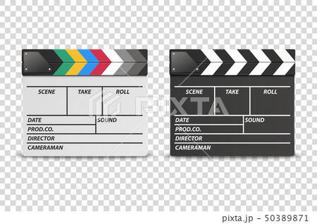 Vector 3d Realistic Closed White and Black Movie Film Clap Board Icon Set Closeup Isolated on 50389871