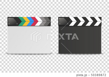 Vector 3d Realistic Closed White and Black Blank Movie Film Clap Board Icon Set Closeup Isolated on 50389872