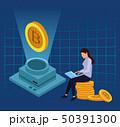 ビットコイン 仮想通貨 デジタルのイラスト 50391300