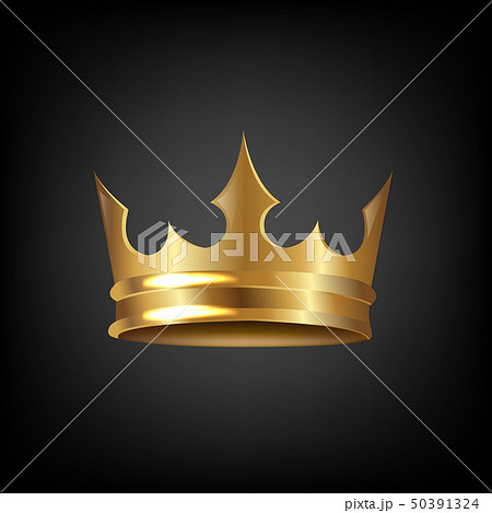 Golden Crown Isolated Black Background 50391324