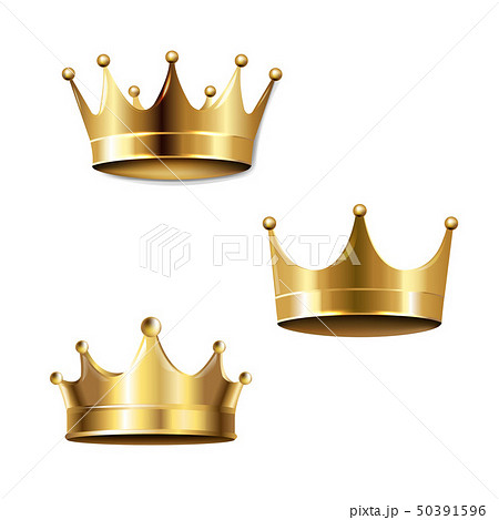 Crown Set Isolated White Background 50391596