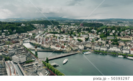 Aerial view of Lucerne and the River Reuss, Switzerland 50393297