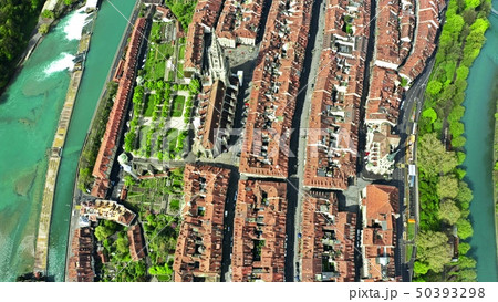 High altitude aerial top down view of Bern, Switzerland 50393298