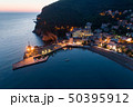Aerial view of the town of Petrovac at dusk 50395912