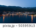 Aerial view of the town of Petrovac at dusk 50395913