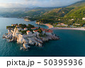 Aerial view of Sveti Stefan island in Budva 50395936