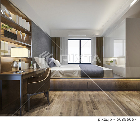 luxury bedroom suite in hotel with tv and working  50396067