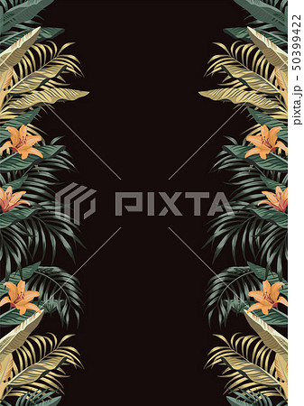 Tropical border A4 layout black background 50399422