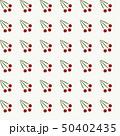 Seamless pattern of three cherry berries on twig 50402435