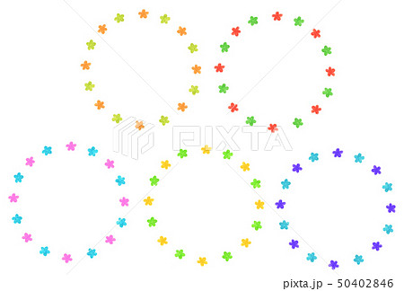 手描きフレーム サークル 花  セット 50402846
