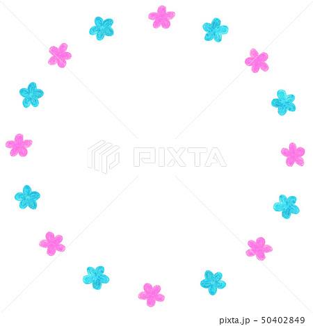 手描きフレーム サークル 花  ライトブルー ピンク 50402849