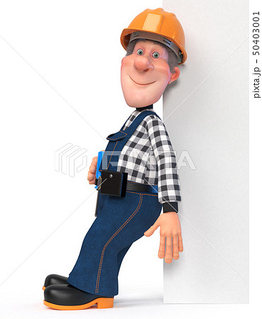 Builder working in overalls with a poster 50403001