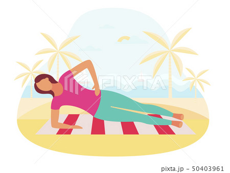 Couple doing plank exercise core workout together outdoors 50403961