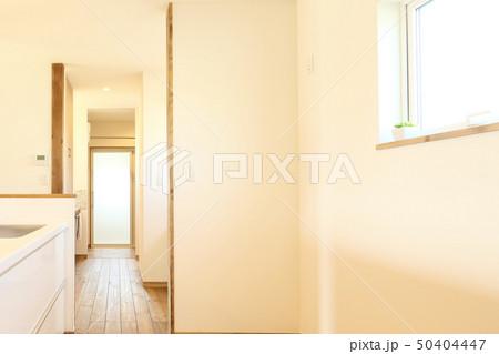 ペット同居型デザイナーズ住宅のお洒落なキッチン 50404447