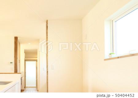 ペット同居型デザイナーズ住宅のお洒落なキッチン 50404452
