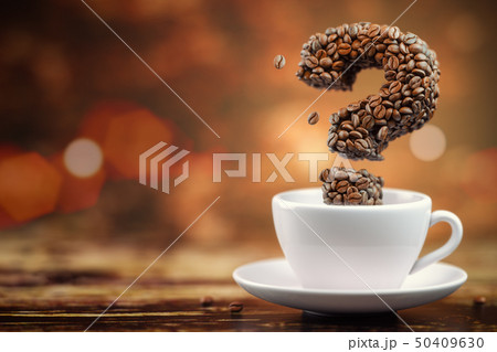 Coffee beans in a form of question mark  50409630