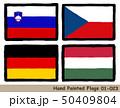 手描きの旗アイコン「スロベニアの国旗」「チェコの国旗」「ドイツの国旗」「ハンガリーの国旗」 50409804