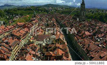 Flight over Old City street in Bern, Switzerland 50411860