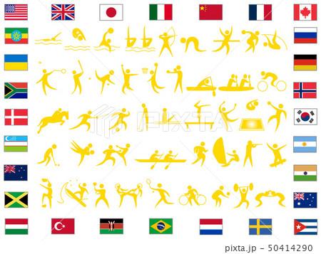 障がい者スポーツを含むアイコンのセット。東京オリンピック、パラリンピックの競技種目のリストです。 50414290