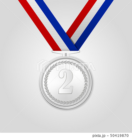 Vector 3d Realistic Silver Award Medal with Color Ribbon Closeup Isolated on White Background. The 50419870