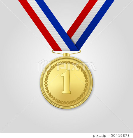 Vector 3d Realistic Gold Award Medal with Color Ribbon Closeup Isolated on White Background. The 50419873