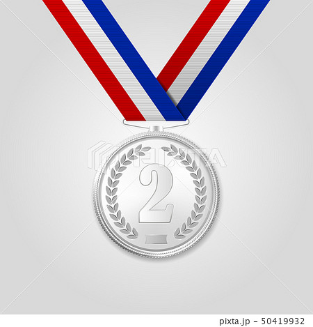 Vector 3d Realistic Silver Award Medal with Color Ribbon Closeup Isolated on White Background. The 50419932