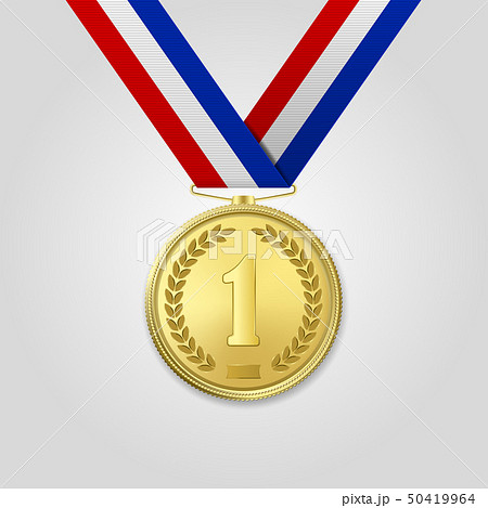 Vector 3d Realistic Gold Award Medal with Color Ribbon Closeup Isolated on White Background. The 50419964