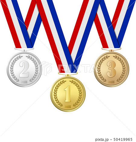 Vector 3d Realistic Gold, Silver and Bronze Award Medals Icon Set with Color Ribbons Closeup 50419965