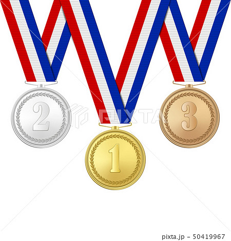 Vector 3d Realistic Gold, Silver and Bronze Award Medals Icon Set with Color Ribbons Closeup 50419967