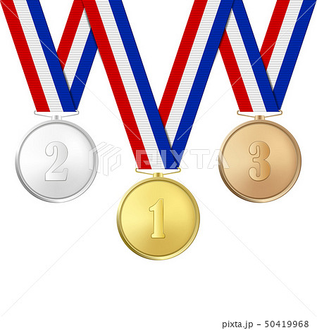 Vector 3d Realistic Gold, Silver and Bronze Award Medals Icon Set with Color Ribbons Closeup 50419968