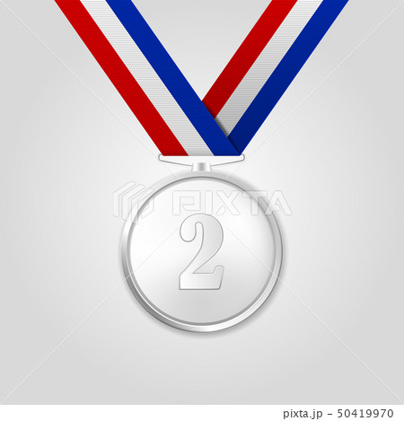 Vector 3d Realistic Silver Award Medal with Color Ribbon Closeup Isolated on White Background. The 50419970