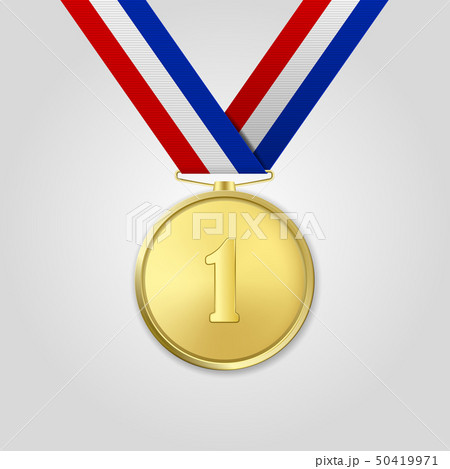 Vector 3d Realistic Gold Award Medal with Color Ribbon Closeup Isolated on White Background. The 50419971