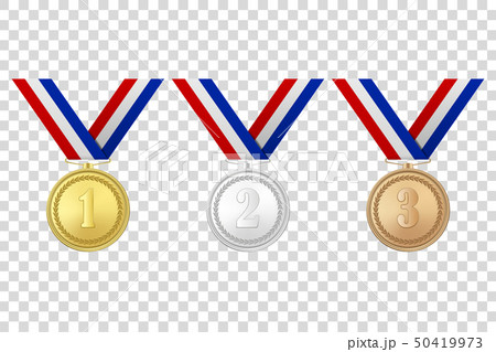 Vector 3d Realistic Gold, Silver and Bronze Award Medals Icon Set with Color Ribbons Closeup 50419973
