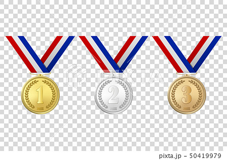 Vector 3d Realistic Gold, Silver and Bronze Award Medals Icon Set with Color Ribbons Closeup 50419979