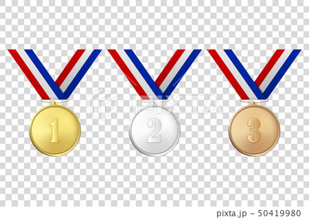 Vector 3d Realistic Gold, Silver and Bronze Award Medals Icon Set with Color Ribbons Closeup 50419980