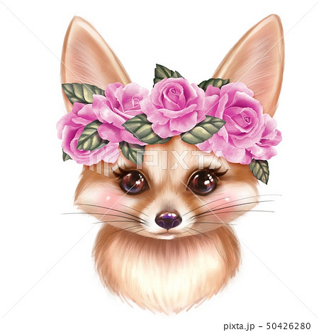 Cute Fennec in wreath 50426280