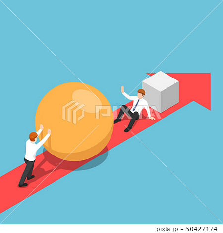 Isometric businessman with sphere go faster than 50427174