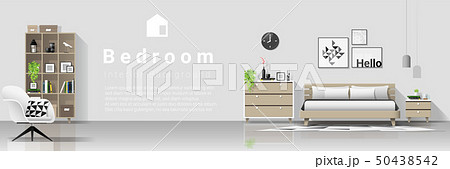 Interior background with modern cozy bedroom 50438542