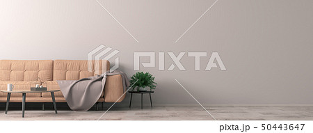 Interior of living room with coral sofa, wooden 50443647