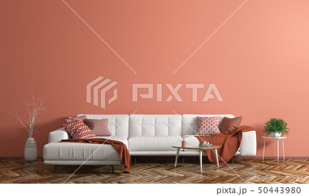 Interior of modern living room with white fabric 50443980