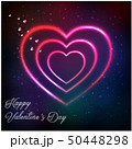 Neon pink heart with inscription Happy Valentine o 50448298