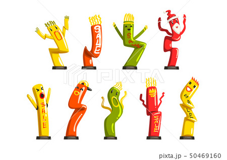 Colorful dancing inflatable tube men set with waving hands vector Illustrations on a white 50469160
