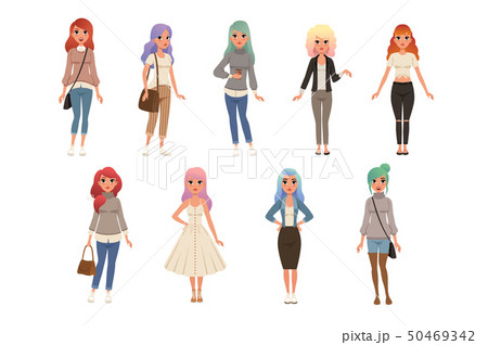 Beautiful young women with long dyed hair set, stylish girls in fashion clothes vector Illustrations 50469342