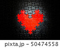 黒地にハート型のジグソーパズル 50474558