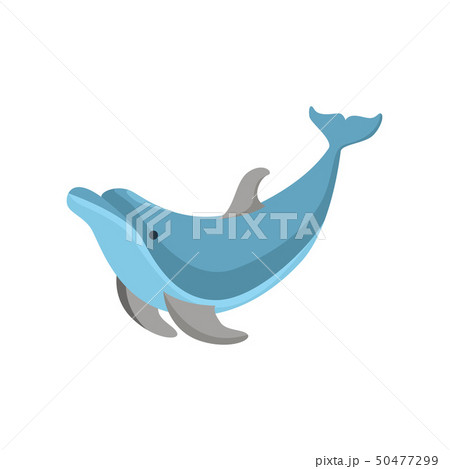 Cartoon Character Funny Dolphin on a White. Vector 50477299
