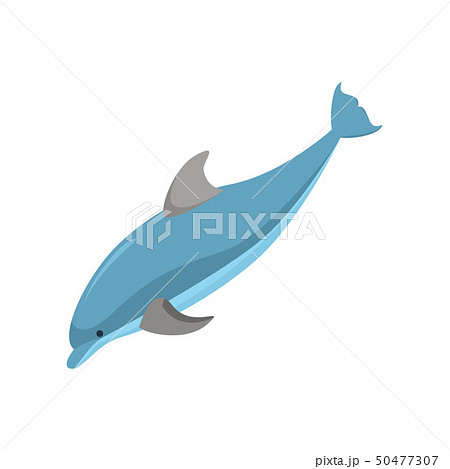 Cartoon Character Funny Dolphin on a White. Vector 50477307