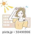 日差し 女性 夏のイラスト 50490906
