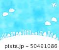 青空と飛行機と木と家の水彩風フレーム枠 50491086